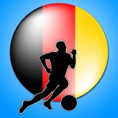 Soccer Player Shows Germany Football And Game