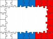 Russia Jigsaw Means Blank Space And Copyspace