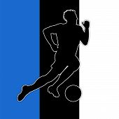 Soccer Player Represents National Flag And European