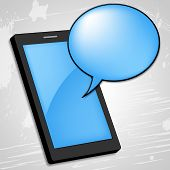 Mobile Phone Shows Talking Cellphone And Gossip