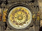 Detail On Astronomical Clock (prague Orloj) Located In The Clock Tower And A Dove Flying In Front Of