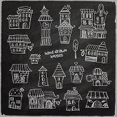 chalkboard vector fairy tale houses