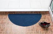 Blue fabric doormat