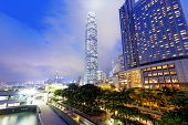 image of hong kong bridge  - office building at night in hong kong - JPG