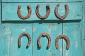 Six Antique Rusty Horseshoe On Wooden Door