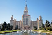 Moscow State Univercity. Front facade view. Sunny summer clear day.