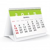 April 2015 desk calendar - vector illustration
