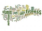 High resolution concept or conceptual abstract 3D fitness and health word cloud or wordcloud on whit