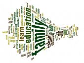 High resolution concept or conceptual 3D family and education abstract word cloud on white backgroun