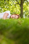 Pretty redhead lying on the grass on a sunny day