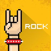 vector pixel art hand sign rock n roll music.