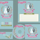 Vintage wedding design  template set with floral wreath