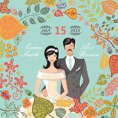 Cute wedding invitation with groom,bride,autumn leaves