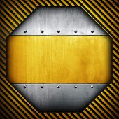 metal template with warning stripes