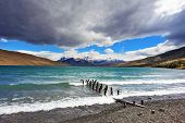 National Park Torres del Paine in Patagonia, Chile.  Storm clouds and strong winds in Laguna Azul.