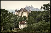 France of middle ages -  three castles - artistic toned picture