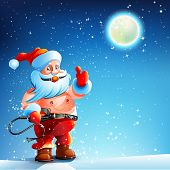 stock photo of bdsm  - Santa Claus is standing in the snow on New Year - JPG