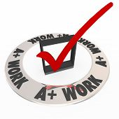 A Plus Work words around a check mark and box grading or scoring your job or performance