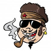 cartoon illustration of man with funny hair smoking pipe