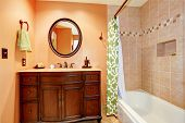 Carved Wood Bathroom Vanity Cabinet With Mirror