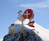 Alpine Mountain View On  Swiss Alps