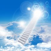 Stairs in sky with clouds and sun