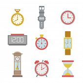 set of colorful clock icons