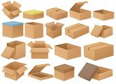 Ilustration of a set of different cardboard boxes