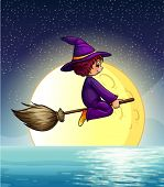 Ilustration of a witch flying at night