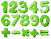 Illustration of a set of green numbers