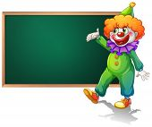 Ilustration of a blackboard with a clown