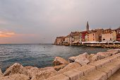 Aerial Shoot Of Old Town Rovinj At Sunset, Istra Region, Croatia