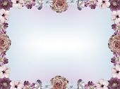 Frame With Pastel Colored Flowers And Color Gradient Copy Space