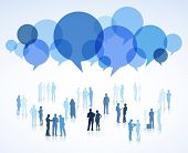 Large Group of Business People with Speech Bubbles