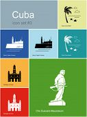 Landmarks of Cuba. Set of color icons in Metro style. Editable vector illustration.