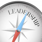 detailed illustration of a compass with leadership text, eps10 vector