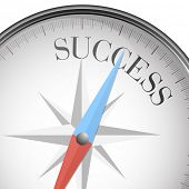 detailed illustration of a compass with success text, eps10 vector