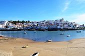 stock photo of lobster boat  - Ferragudo a typical fishing village situated in the algarve portugal - JPG