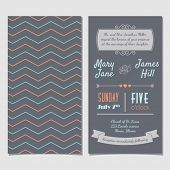 Vector Vintage Invitation card with background zigzag, letters, type, ribbons and heart. Easy to edit