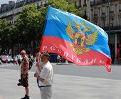 Protest Manifestation Against War In Ukraine In Republic Square Of Paris On Aug. 02. 2014