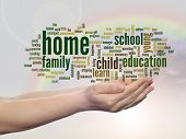 Concept or conceptual home and education abstract word cloud, human man hand, rainbow sky background