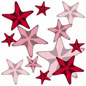 Decorative card with cartoon starfishes