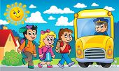 Image with school bus topic 2 - eps10 vector illustration.