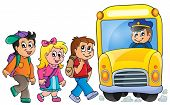 Image with school bus topic 1 - eps10 vector illustration.