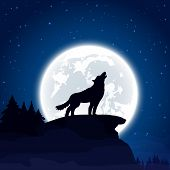 pic of wolf moon  - Halloween night background with wolf and Moon illustration - JPG