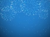 picture of xmas star  - Stars and shiny fireworks on blue background illustration - JPG