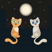 Romantic card, falling in love cartoon cats