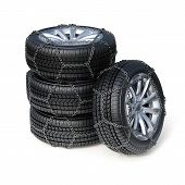 Winter Tires With Snow Chain Isolated On White Background