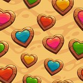 Seamless pattern with wooden hearts