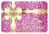 Luxury Pink Shiny Gift Card Composed From Glitters